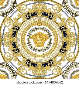 Seamless Vector Golden Baroque Fashionable mandala in vintage style with medusa head. Pattern for textile, design and backgrounds.