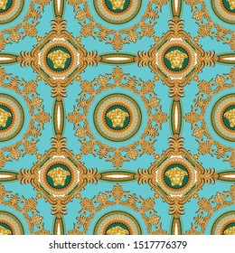 Seamless Vector Golden baroque, Fashionable design in vintage style with medusa head. Pattern for textile, design and backgrounds.