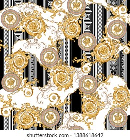 Seamless Vector. Golden baroque with greek geometric background.