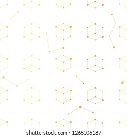 Seamless vector golden pattern repeat cube elements/ Gold and white geometrical background