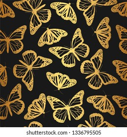 Seamless vector golden silhouette of  butterflies pattern/ Black and gold butterfly background