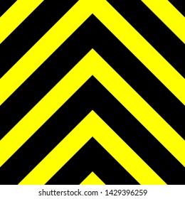 Seamless vector graphic of black upward pointing chevrons on a yellow background. This signifies danger or a hazard