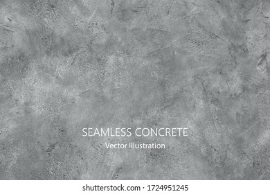 Seamless vector gray concrete texture. Stone wall background.