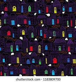 Seamless Vector Halloween Haunted House Pattern with Purple Homes, Colored Doors, Friendly Ghosts, and Bat Silhouettes. Great for holiday decor, fabric, home goods, scrapbooking, trick or treat bags.