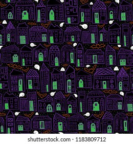 Seamless Vector Halloween Haunted House Pattern with Purple Homes, Green Doors, Friendly Ghosts, and Bat Silhouettes. Great for holiday decor, fabric, home goods, scrapbooking, trick or treat bags.