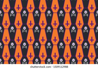 Seamless vector Halloween pattern with orange and black caskets, skulls and crossbones on purple background.