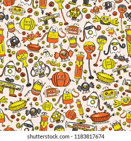 Seamless Vector Halloween Textured Pattern Design in Orange, Black, Yellow, and Gray with Nerdy, Quirky, Fun Halloween Candy Robots. Great for holidays, parties, invitations, fabric, decor, seasonal.