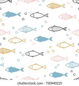 Seamless vector hand drawn fish pattern.