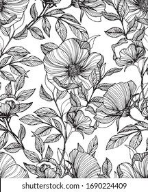 Seamless  Vector  hand drawn floral pattern, black and white.