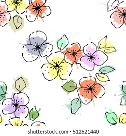 Seamless vector hand drawn seamless floral  pattern. Background with flowers, leaves. Decorative graphic vector drawn illustration. Line drawing