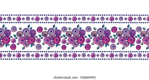 Seamless vector hand drawn floral pattern, endless border Colorful frame with flowers, leaves Decorative cute graphic line drawing illustration. Print for wrapping, background, fabric, decor, textile