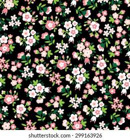 Seamless Vector hand drawn flower pattern