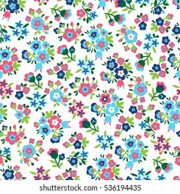 Seamless Vector hand drawn flower pattern. Floral background