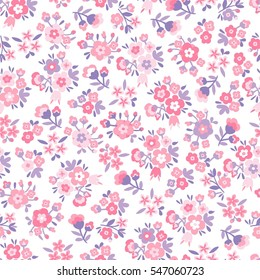 Seamless Vector hand drawn flower pattern. Blue floral background