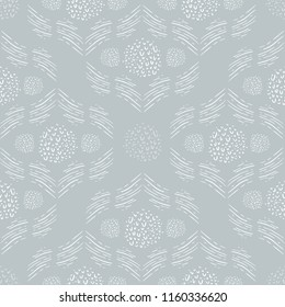 Seamless Vector Hand Drawn Geometric Diamond and Circle Pattern in Silvery Gray Green and White.
