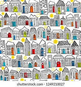 Seamless Vector Hand Drawn Happy City Sunny Day Neighborhood Coloring Book Pattern in Black and White with Colorful Doors. Great for children, baby, stationery, fabric, home decor, paper crafting.