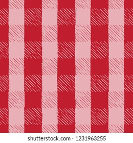 Seamless Vector Hand Drawn Holiday Gingham Inky Sketch in Red, Pink, & White. Great coordinating print for holiday collection designs. Apparel, home decor, textiles, wallpaper, & backgrounds.