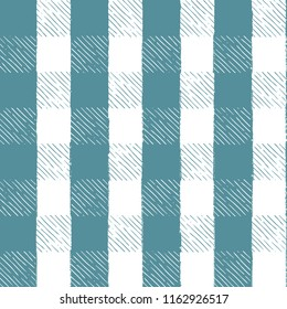 Seamless Vector Hand Drawn Inky Sketch Turquoise and White Gingham Picnic Pattern. Great for fabric, kitchen textiles, scrapbooking, wallpaper, & home decor.