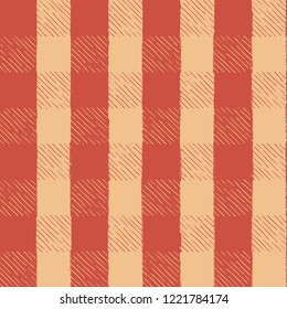 Seamless Vector Hand Drawn Inky Sketch Light Orange & Red Gingham Picnic Pattern. Great for Thanksgiving, seasonal decor, invitations, backgrounds, fall, autumn, fabric, textiles, wallpaper