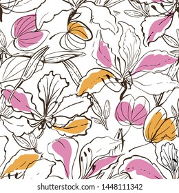Seamless vector hand drawn pattern hawaii floral style with black and whithe flowers, leaves and buds of tropical exotic plant - Bauhinia, orchid tree. Line drawing partially colored.