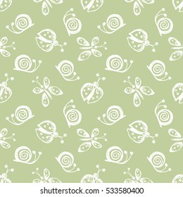 Seamless vector hand drawn seamless pattern with insect. Green pastel background with ladybug, butterfly, snail Decorative cute graphic drawn illustration Template for background, wrapping, wallpaper.