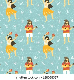 Seamless vector hawaii pattern. Summer background with dancing girls and men playing ukulele . Bright ethnic design.