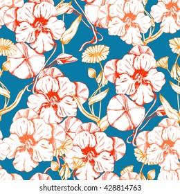 Seamless vector herbal background with flowers and leaves of Nasturtium and Calendula on blue. Hand drawn floral illustration for print, wrapping, fabric and other seamless design.