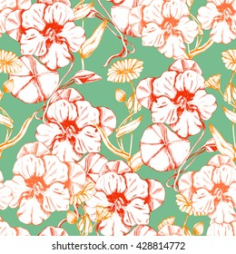 Seamless vector herbal pattern with flowers and leaves of Nasturtium and Calendula on green. Hand drawn floral illustration for print, wrapping, fabric and other seamless design.