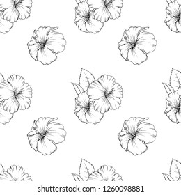 Seamless vector hibiscus flower pattern with hand drawn doodle illustrations