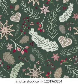 Seamless Vector Holiday Folk Floral with Straw Ornaments, Gingerbread, Pine Cones, & Berries in Green, Pink, & Plum. Great for holidays, home decor, textiles, fabric, paper crafting, & wrapping paper.