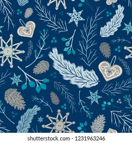 Seamless Vector Holiday Folk Floral with Straw Ornaments, Gingerbread, Pine Cones, & Berries in Tan, Blue, & Teal. Great for holidays, home decor, textiles, fabric, paper crafting, & wrapping paper.