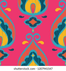 Seamless Vector Ikat Textured Teardrop Paisley Geometric Pattern in Hot Pink, Teal, Orange, and Navy. Great for apparel, home decor, textiles, stationery, wallpaper, backgrounds, scrapbooking, etc.