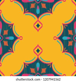 Seamless Vector Ikat Textured Teardrop Diamond Geometric Pattern in Yellow, Hot Pink, Navy, and Teal. Great for apparel, home decor, textiles, stationery, wallpaper, backgrounds, scrapbooking, etc.