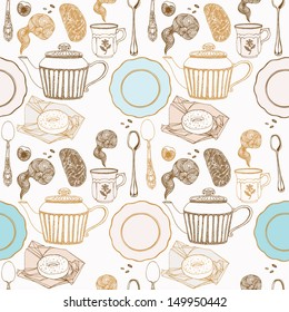 Seamless vector illustration with aromatic tea and bakery.