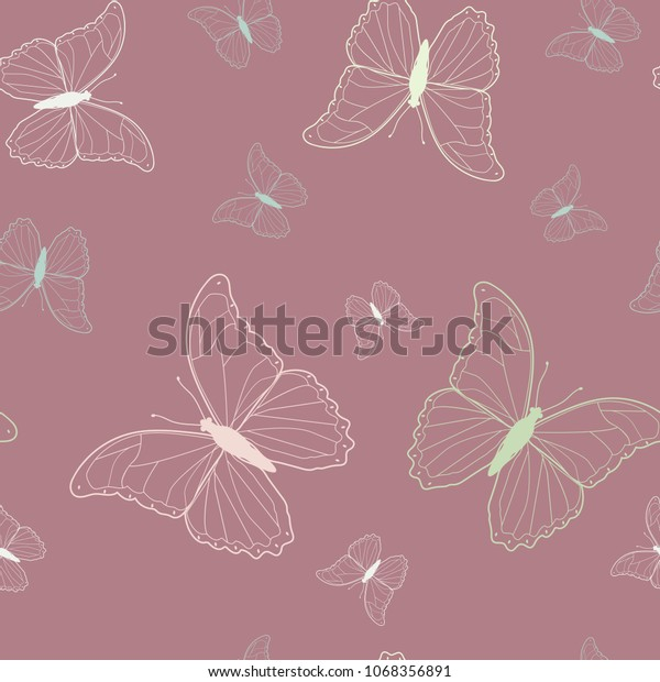Seamless Vector Illustration Beautiful Butterflies On Stock Vector