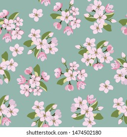 Seamless vector illustration. Blooming sakura on a green background. For textile decoration, packaging, web design.