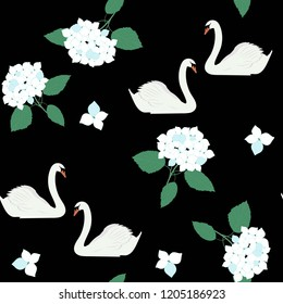 Seamless vector illustration with bouquets of hydrangeas and swans on a black background. For decorating textiles, packaging, covers, web designs.