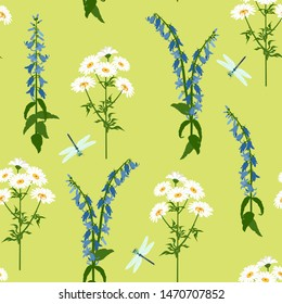 Seamless vector illustration with campanula, chamomile and dragonflies on a green background. For decorating textiles, packaging, web design.