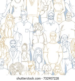 seamless  Vector illustration of crowd of people. Hand drawn background