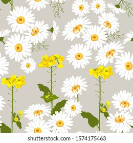 Seamless vector illustration with daisies and wildflowers. For decoration of textiles, packaging, web design.