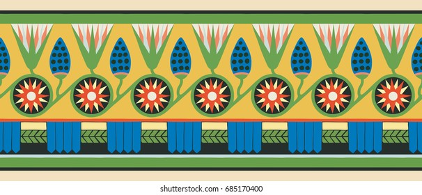 Seamless vector illustration of Egyptian national ornament with lotus flower.