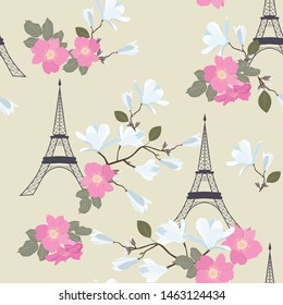 Seamless vector illustration with Eiffel tower and spring flowers. For decoration of textiles, packaging, web design.
