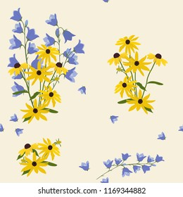 Seamless vector illustration with flowers of rudbeckia and campanula on a beige background. For decorating textiles, packaging, cover, wallpaper.