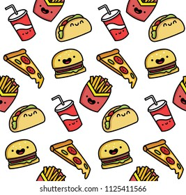Seamless vector illustration of a funny cartoon fast food. The pattern is cute food.