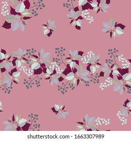 Seamless vector illustration with poinsetia flowers and mistletoe berries on a pink background. For textile decoration, packaging, web design.
