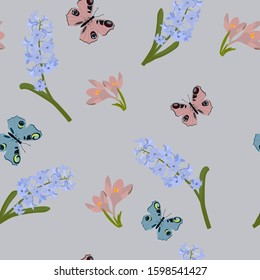 Seamless vector illustration with spring crocus,hyacinth and butterflies on a gray background. For textile decoration, packaging, web design.