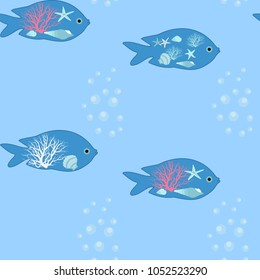 Seamless vector illustration of stylized exotic fish on a blue background. For decorating textiles, packaging and wallpaper.