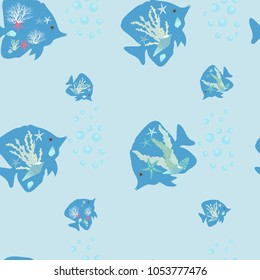 Seamless vector illustration of stylized sea fish on a blue background. For decorating textiles, packaging and wallpaper.