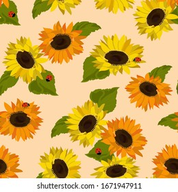 Seamless vector illustration with sunflowers and ladybirds on a beige background. For decorating textiles, packaging, wallpaper.