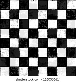 Seamless Vector Inky Stamped Distressed Black and White Checkerboard Pattern. Great for fabric, scrapbooking, home decor, kids, tweens, racing fans, stationery, backgrounds, and print projects.